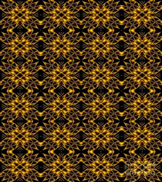 Photograph - Golden Metallic Lights Kaleidoscope Mandala Abstract 5 by Rose Santuci-Sofranko