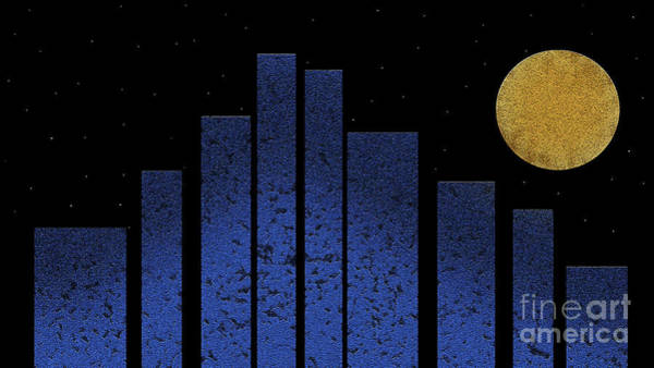 Digital Art - Golden Moon Over An Abstract City by Andee Design