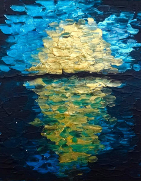 Painting - Golden Moon Reflection by Michelle Pier