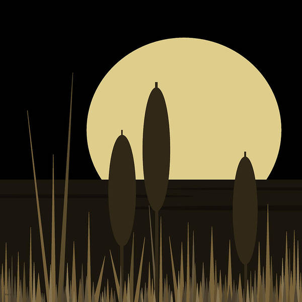Semis Digital Art - Golden Night On Loon Lake - Black And Gold by Val Arie