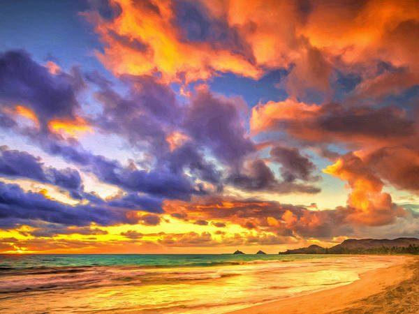 Painting - Golden Oahu Sunset by Dominic Piperata