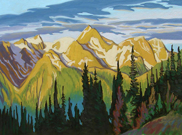 Wall Art - Painting - Golden Peaks Banff by Paul Gauthier