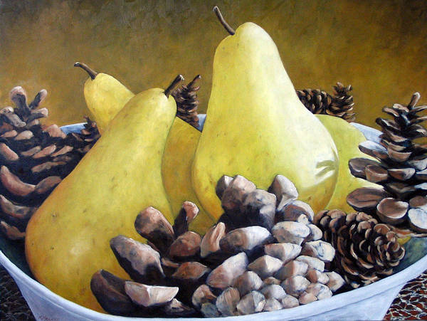 Canadiens Painting - Golden Pears And Pine Cones by Richard T Pranke