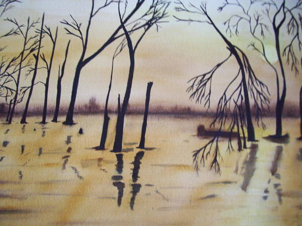 Painting - Golden Pond by Audrey Bunchkowski