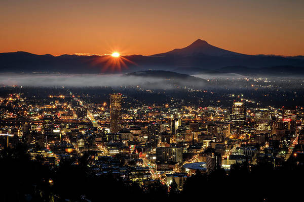 Photograph - Golden Portland Morning by Wes and Dotty Weber