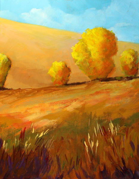 Prairie Grass Painting - Golden Prairie by Nancy Merkle
