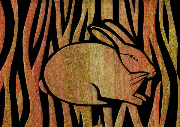 Cut-out Mixed Media - Golden Rabbit by Roseanne Jones