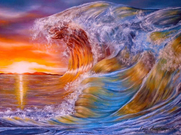 Wave Breaking Painting - Golden Rage by Faye Anastasopoulou