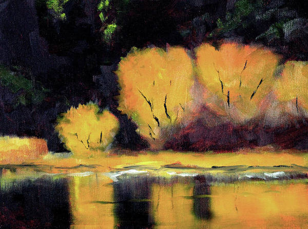 Wall Art - Painting - Golden Reflection Landscape by Nancy Merkle