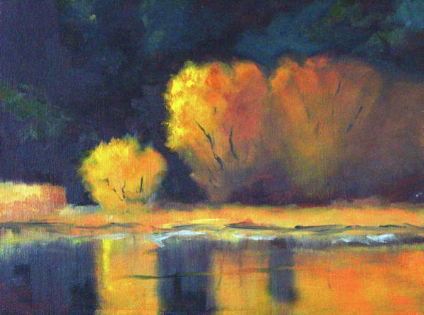 Wall Art - Painting - Golden Reflection by Nancy Merkle