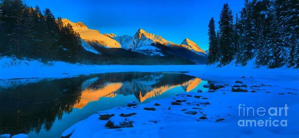 Montain Photograph - Golden Reflections At Maligne by Adam Jewell