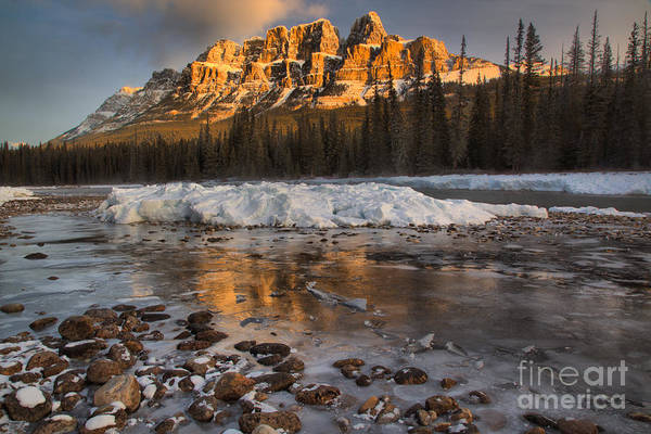 Photograph - Golden Reflections By The River Rocks by Adam Jewell