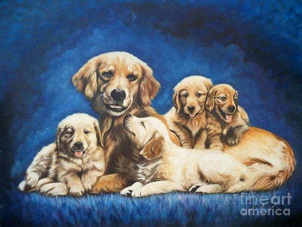Painting - Flygende Lammet    Productions             Golden Retriever And Pups by Sigrid Tune