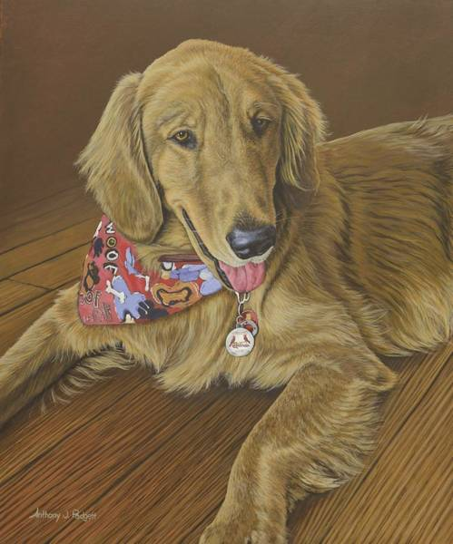 Painting - Golden Retriever by Anthony J Padgett