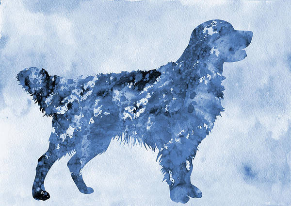 Golden Retriever Digital Art - Golden Retriever-blue by Erzebet S