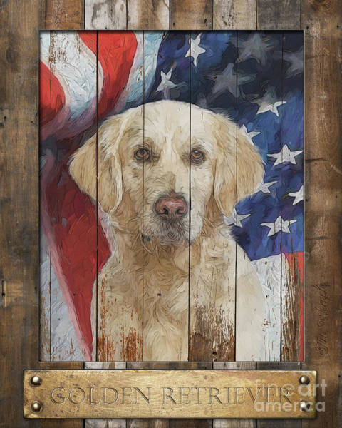 Digital Art - Golden Retriever Flag Poster by Tim Wemple