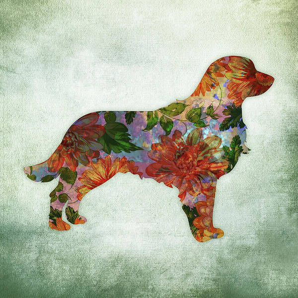 Golden Retriever Digital Art - Golden Retriever Floral On Green by Flo Karp
