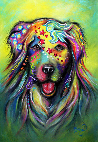 Pastel - Golden Retriever by Patricia Lintner