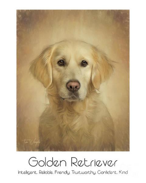 Digital Art - Golden Retriever Poster by Tim Wemple