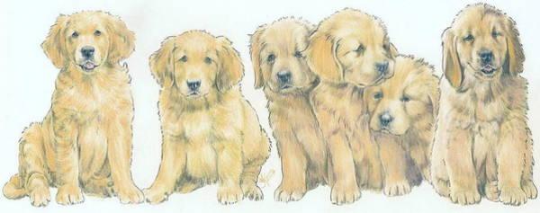 Wall Art - Mixed Media - Golden Retriever Puppies by Barbara Keith