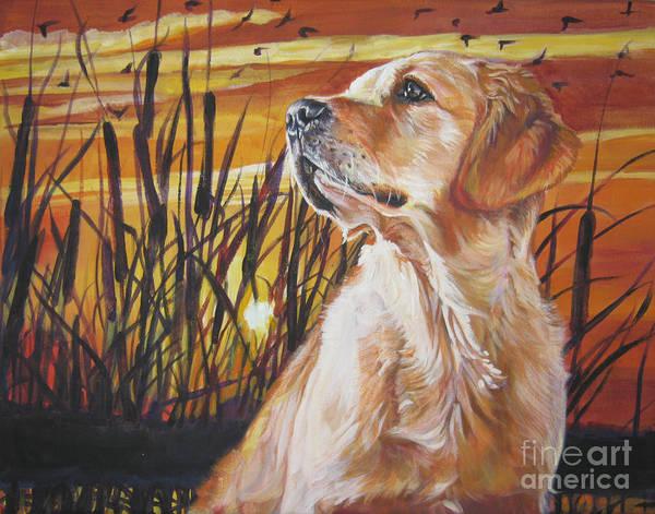 Cattails Wall Art - Painting - Golden Retriever Sunset by Lee Ann Shepard