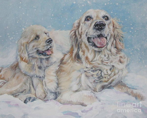 Golden Retriever Painting - Golden Retriever With Pup In Snow by Lee Ann Shepard