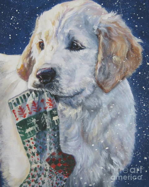 Stocking Wall Art - Painting - Golden Retriever With Xmas Stocking by Lee Ann Shepard