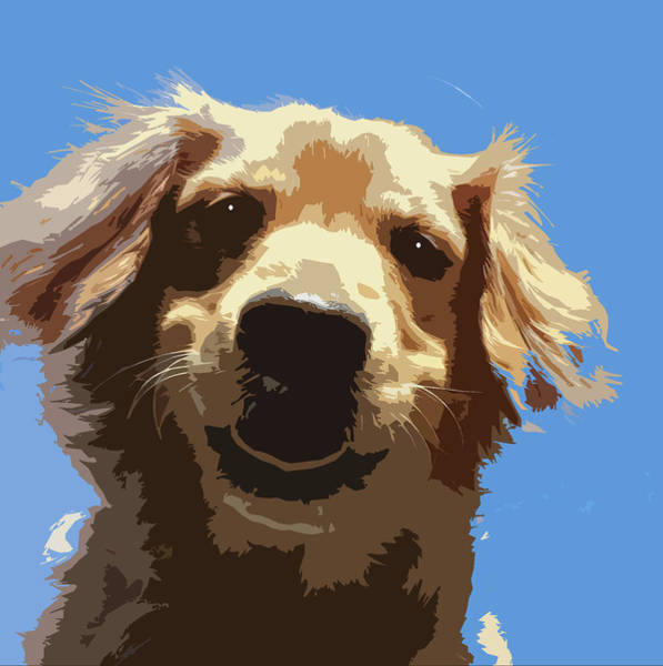 Service Dog Painting - Golden Retriever Woodcut by Ted Pullig