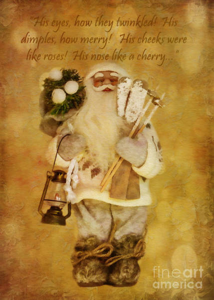 Digital Art - Golden Santa Card 2015 by Kathryn Strick