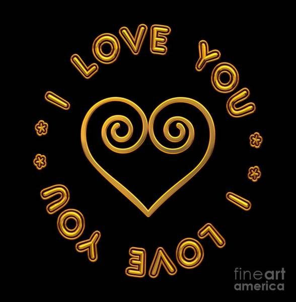Digital Art - Golden Scrolled Heart And I Love You by Rose Santuci-Sofranko