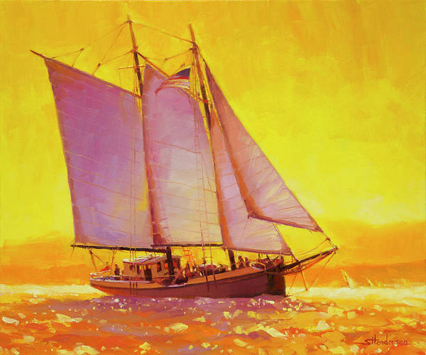 Wall Art - Painting - Golden Sea by Steve Henderson