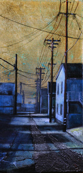 Utility Poles Painting - Golden Skies No. 1 by Duke  Windsor