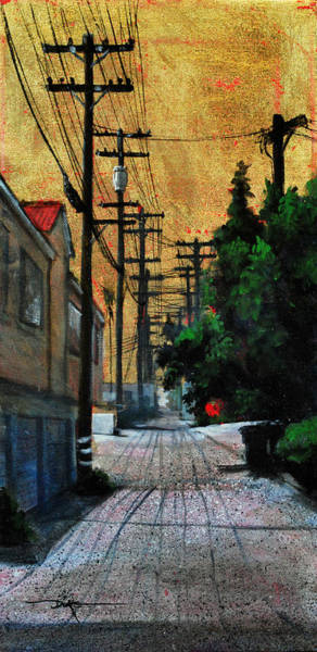 Utility Poles Painting - Golden Skies No. 3 by Duke  Windsor