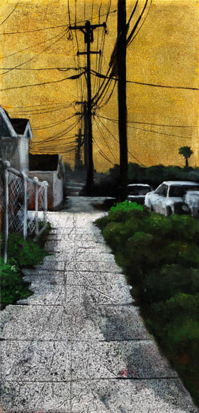 Utility Poles Painting - Golden Skies No. 4 by Duke  Windsor