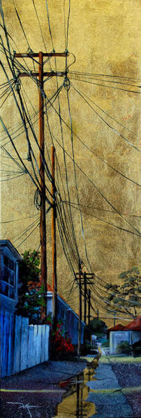 Utility Poles Painting - Golden Skies No. 5 by Duke  Windsor