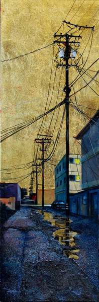 Utility Poles Painting - Golden Skies No. 6 by Duke  Windsor