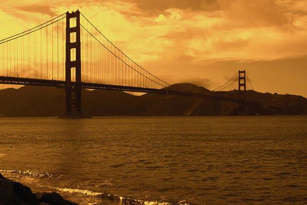 Photograph - Golden Skies Over The Golden Gate Bridge by Aidan Moran
