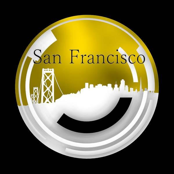 Digital Art - Golden Skyline Of San Francisco by Alberto RuiZ