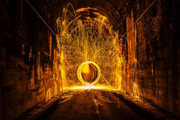 Steel Wool Photograph - Golden Spinning Sphere by Pelo Blanco Photo