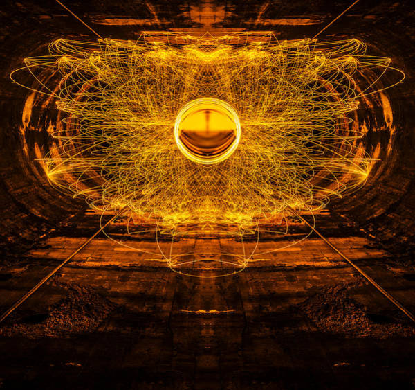 Steel Wool Photograph - Golden Spinning Sphere Reflection by Pelo Blanco Photo