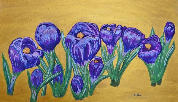 Snowdrop Painting - Golden Spring by Felicia Tica