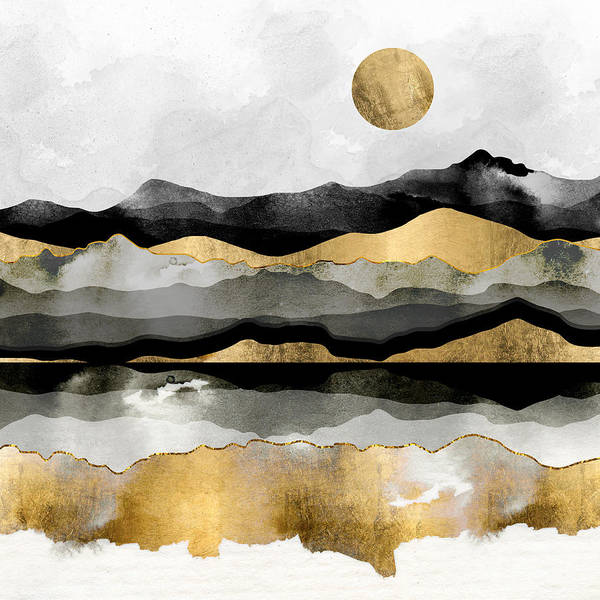 Spring Mountains Digital Art - Golden Spring Moon by Spacefrog Designs