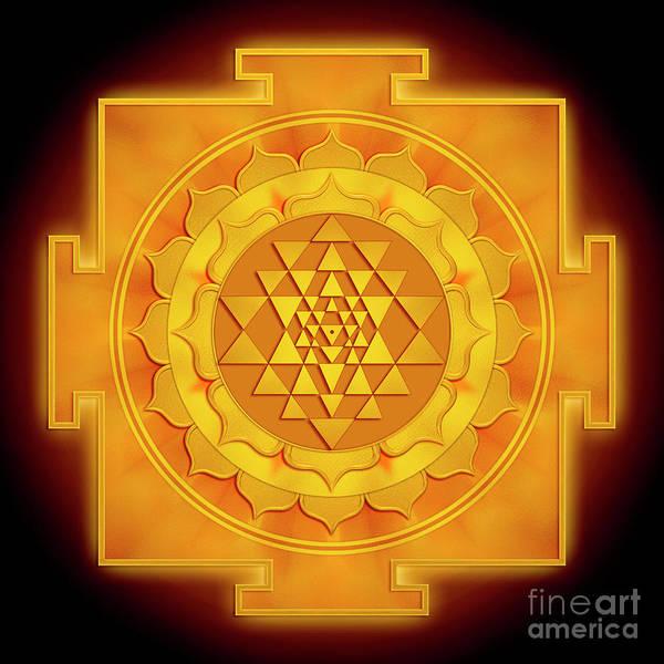 Wall Art - Digital Art - Golden Sri Yantra - Artwork 1 by Dirk Czarnota