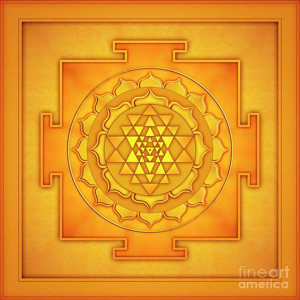 Wall Art - Digital Art - Golden Sri Yantra - Artwork 2 by Dirk Czarnota