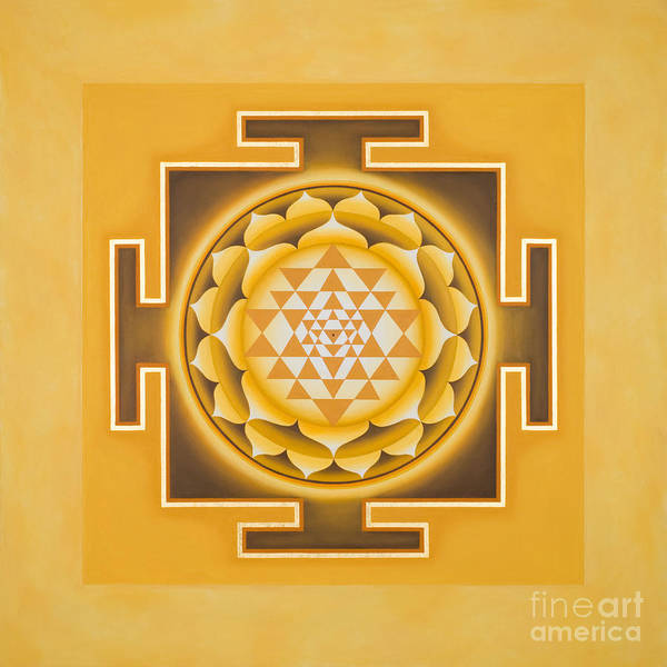 Wall Art - Painting - Golden Sri Yantra - The Original by Piitaa Art