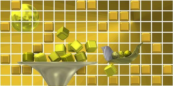 Digital Art - Golden Still Life Over Grid 1 by Alberto RuiZ