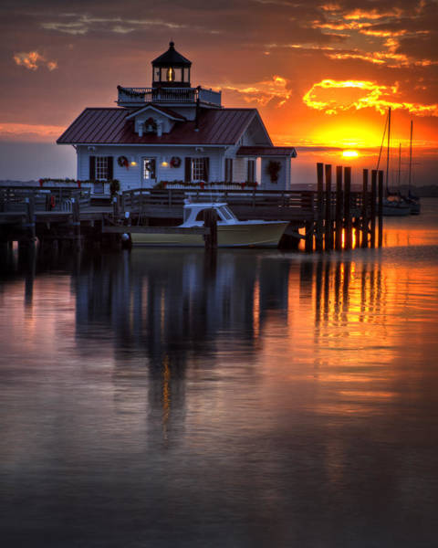Roanoke Marshes Light Wall Art - Photograph - Golden Sunrise On The Marshes Light by Donald Bowers