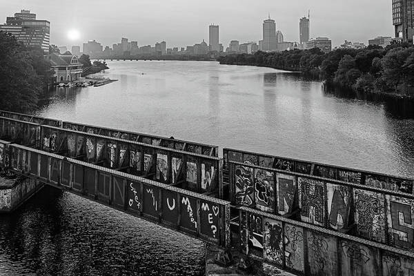 Photograph - Golden Sunrise Over Boston From The Bu Bridge Graffiti Train Tracks Boston Ma Black And White by Toby McGuire