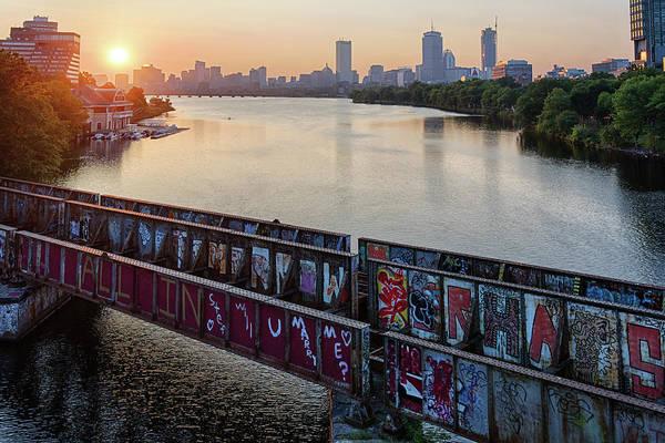 Wall Art - Photograph - Golden Sunrise Over Boston From The Bu Bridge Graffiti Train Tracks Boston Ma by Toby McGuire