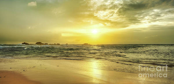 Srilanka Wall Art - Photograph - Golden Sunset Over The Sea. Panorama by MotHaiBaPhoto Prints